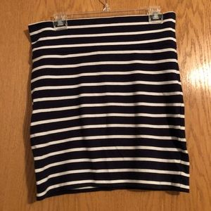 Navy and White Stripe Skirt
